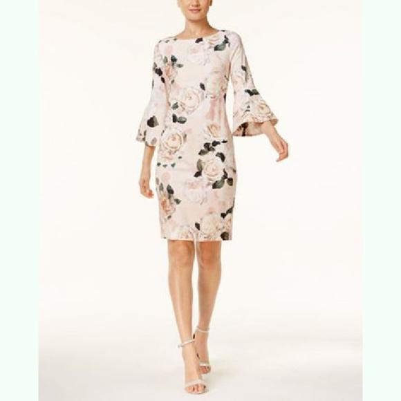 64de14fec465c3 Calvin Klein Dresses | Pink Floral Bell Sleeve Sheath Dress | Poshmark